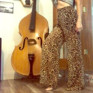 Leopard sheer palazzo pants